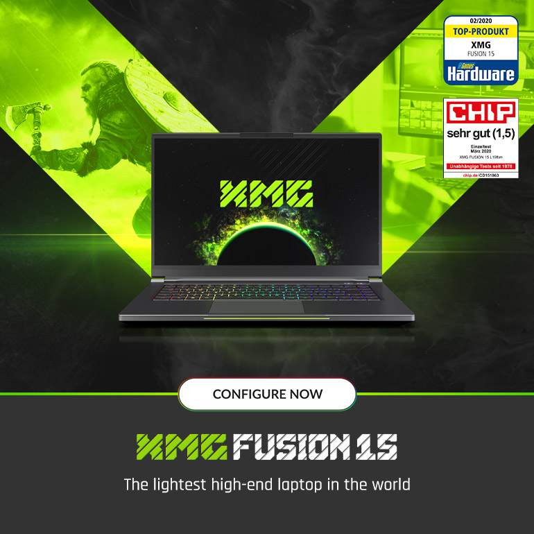 XMG FUSION 15 - the lightest high-end laptop in the world