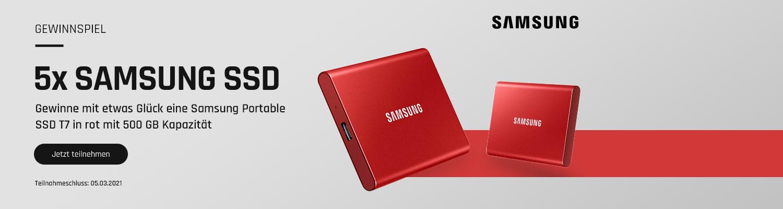 bestware Gewinnspiel mit 500 GB Samsung T7 in rot
