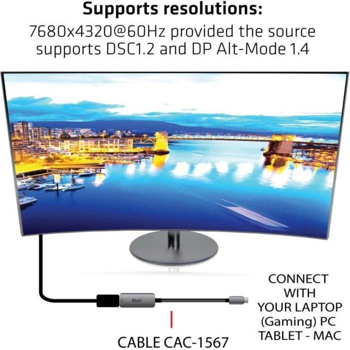 Club3d USB-c zu DP 1.4 adapter unterstütze auflösung